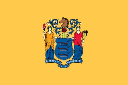 Illustration of New Jersey state flag, United States of America. Stock Photo