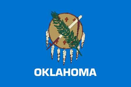 oklahoma: Oklahoma state flag of America, isolated on white background.
