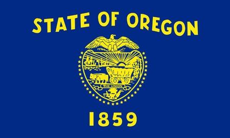 Oregon state flag of America, isolated on white background. photo
