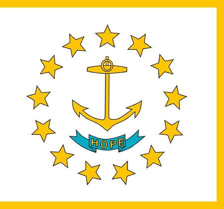 Rhode Island state flag of America, isolated on white background. photo