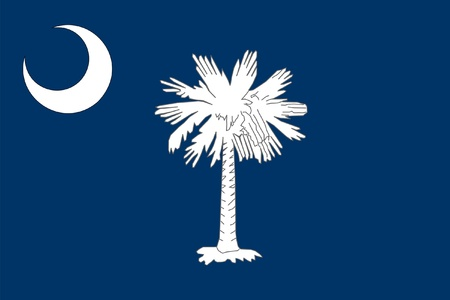South Carolina state flag of America, isolated on white background. Фото со стока