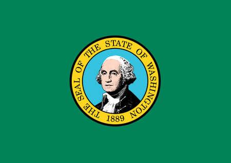 george washington: Washington state flag of America, isolated on white background.