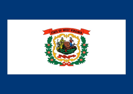 virginia: West Virginia state flag of America, isolated on white background.
