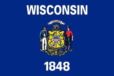 state of wisconsin: Wisconsin state flag of America, isolated on white background.