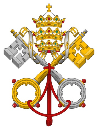 pope: Embelm of Vatican City State showing cross keys, isolated on white background.