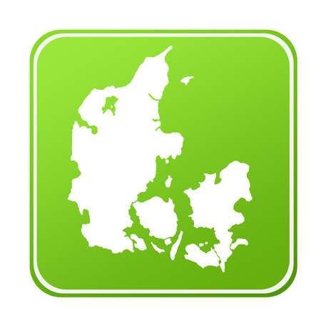 Silhouetted map of Denmark on green eco button, isolated on white background. Stock Photo - 8596089