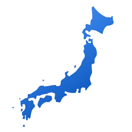 Blue map of Japan, isolated on white background