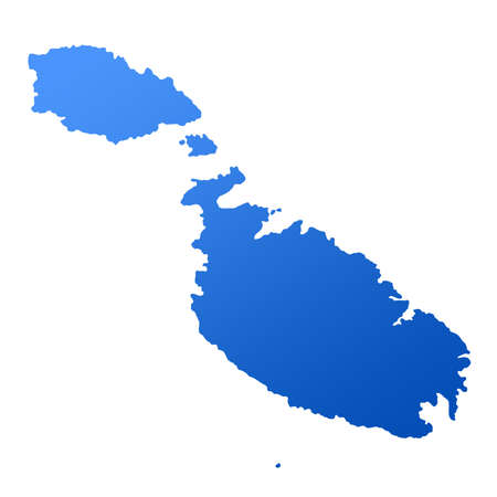 maltese map: Blue map of Malta, isolated on white background