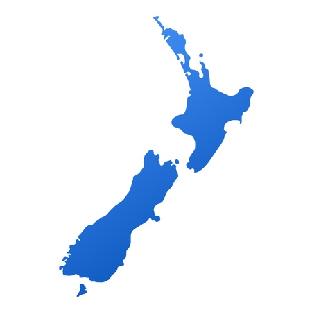 zealand: Blue map of New Zealand, isolated on white background Stock Photo