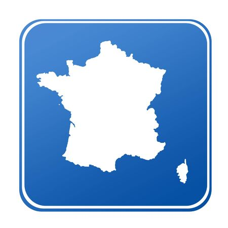 Map of France on blue button; isolated on white background. photo