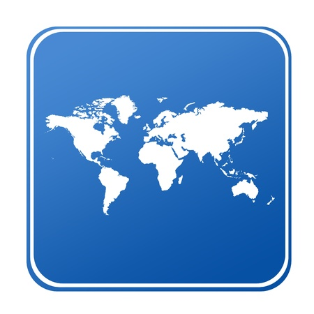 Map of World on blue button; isolated on white background.