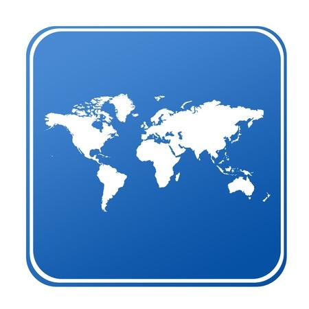 objetos cuadrados: Mapa del mundo en bot�n azul; aislado sobre fondo blanco.