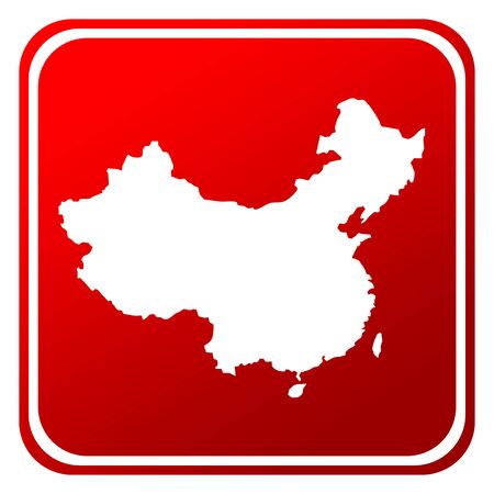 Red China map button isolated on white background. photo