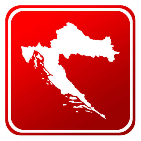 silhouetted: Red Croatia map button isolated on white background. Stock Photo