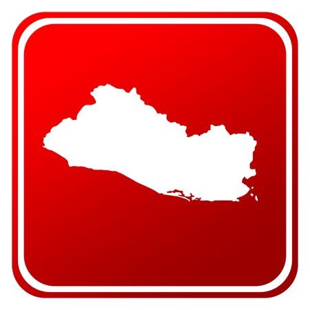 mapa de el salvador: Bot�n de mapa del Salvador rojo aislado sobre fondo blanco. Foto de archivo