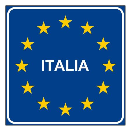 Italy road sign on European flag with stars, isolated on white background with copy space. photo