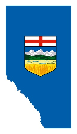Alberta flag on province map, isolated on white background, Canada.