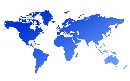 Blue gradient world map; isolated on white background. Stock Photo - 9072118