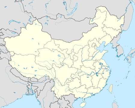 Illustrated map of country of China with states marked.