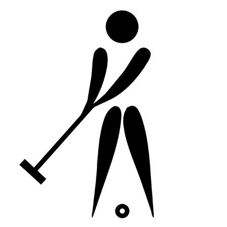 silhouetted: Black silhouetted croquet sign or symbol; isolated on white background.