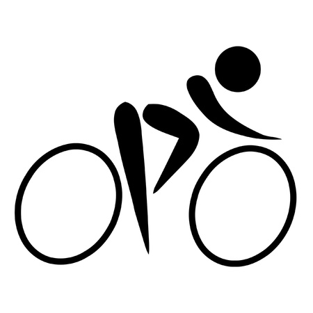 cyclist silhouette: Black silhouetted cycling sign or symbol; isolated on white background. Stock Photo