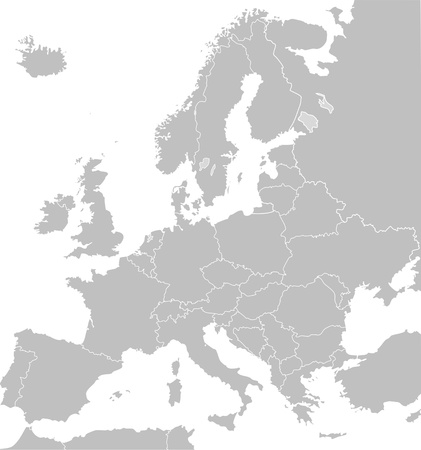 Illustrated map of Europe in grey or grey with borders of countries; white background.