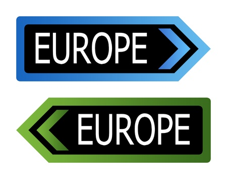 Two directional European road sign isolated on white background. Stock Photo - 9072103
