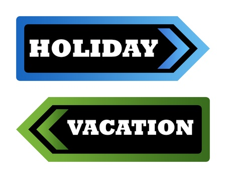 Holiday and vacation directional arrow signs isolated on white background with copy space. Stock Photo - 9072094