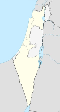 Illustration of Israel map showing the state borders.