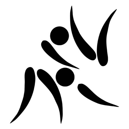 woman throwing: Black silhouetted judo sign or symbol; isolated on white background.