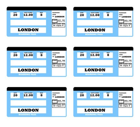 Illustration of London 2010 concept flight ticket, isolated on white background. illustration