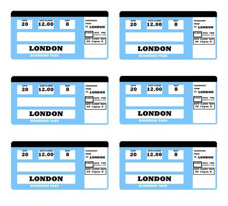Illustration of London 2010 concept flight ticket, isolated on white background. illustration