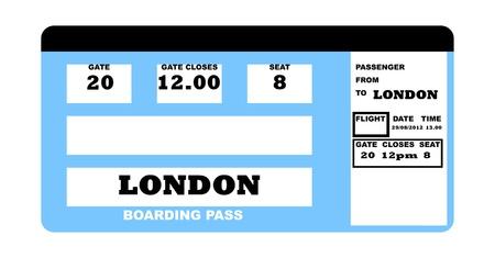 Illustration of London 2010 concept flight ticket, isolated on white background. Standard-Bild