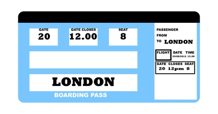 Illustration of London 2010 concept flight ticket, isolated on white background. Stock Photo