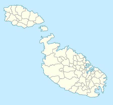 Mappa del paese di Malta in Europa illustrata. Archivio Fotografico - 9072088
