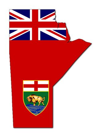 manitoba: National flag of Manitoba on map of province in Canada. Isolated on white background.  Stock Photo