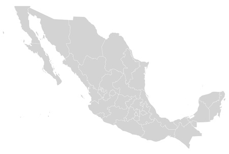 mexico background: Illustrated map of Mexico showing states in grey or gray; white background.