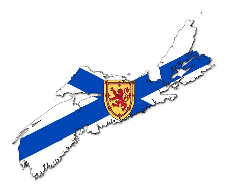 canadian state flag: National flag of Nova Scotia on map of province in Canada. Isolated on white background.