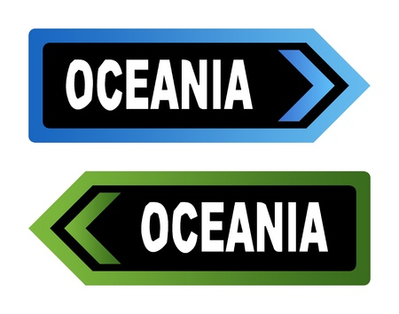 Two directional Oceania road signs in hand made style font, isolated on white background. Stock Photo - 9072100
