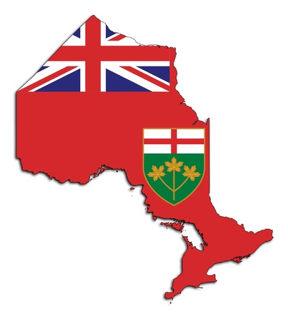 Ontario map flag isolated on white background, Canada. Standard-Bild