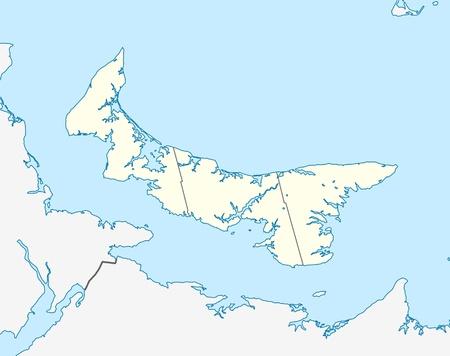 edward: Map of Canadian or Canada province of Prince Edward Island.