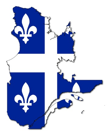 quebec: National flag of Quebec of map of province in Canada. Isolated on white background.
