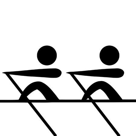 Black silhouetted rowing pairs sign or symbol; isolated on white background.