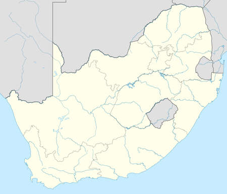 south african: Illustration of South African map showing state borders.