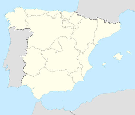 spain map: Illustrated map of the country of Spain and the Balearic Islands in Europe.  Stock Photo