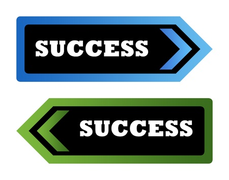 Two success directional arrow signs isolated on white background. Stock Photo - 9072096