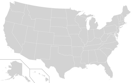 Illustration of grey or gray USA map isolated on white background. Stock Photo