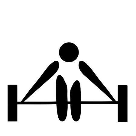 sports bar: Black silhouetted weightlifting sign or symbol; isolated on white background.  Stock Photo