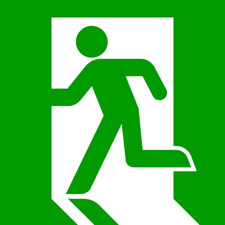 escape route: Green emergency exit sign or symbol; isolated on white background. Stock Photo