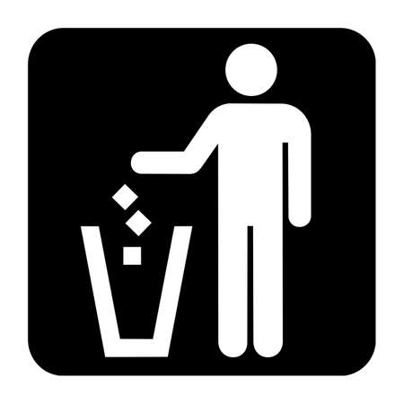 disposal: Litter disposal sign or symbol; isolated on white background. Stock Photo